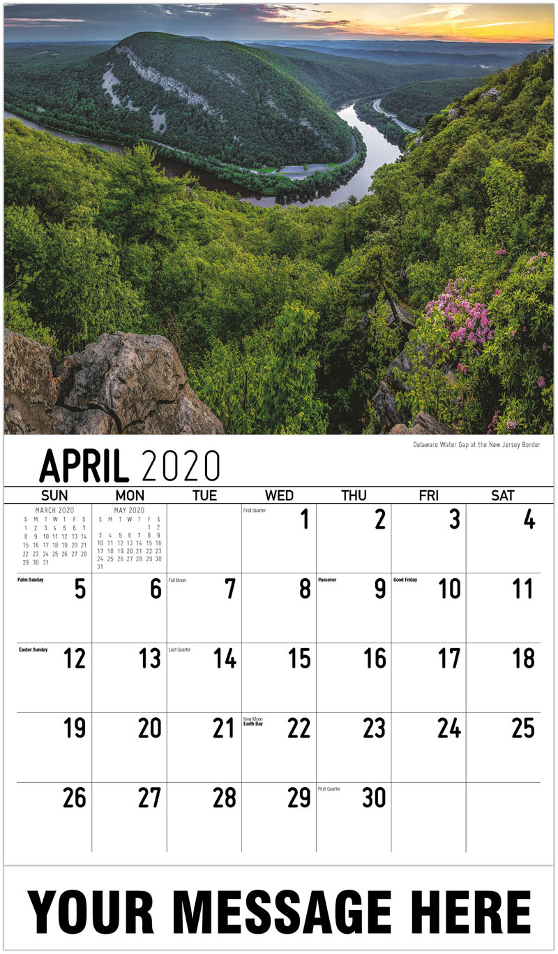 2020 Promotional Calendar - Delaware Water Gap At The New Jersey Border - April