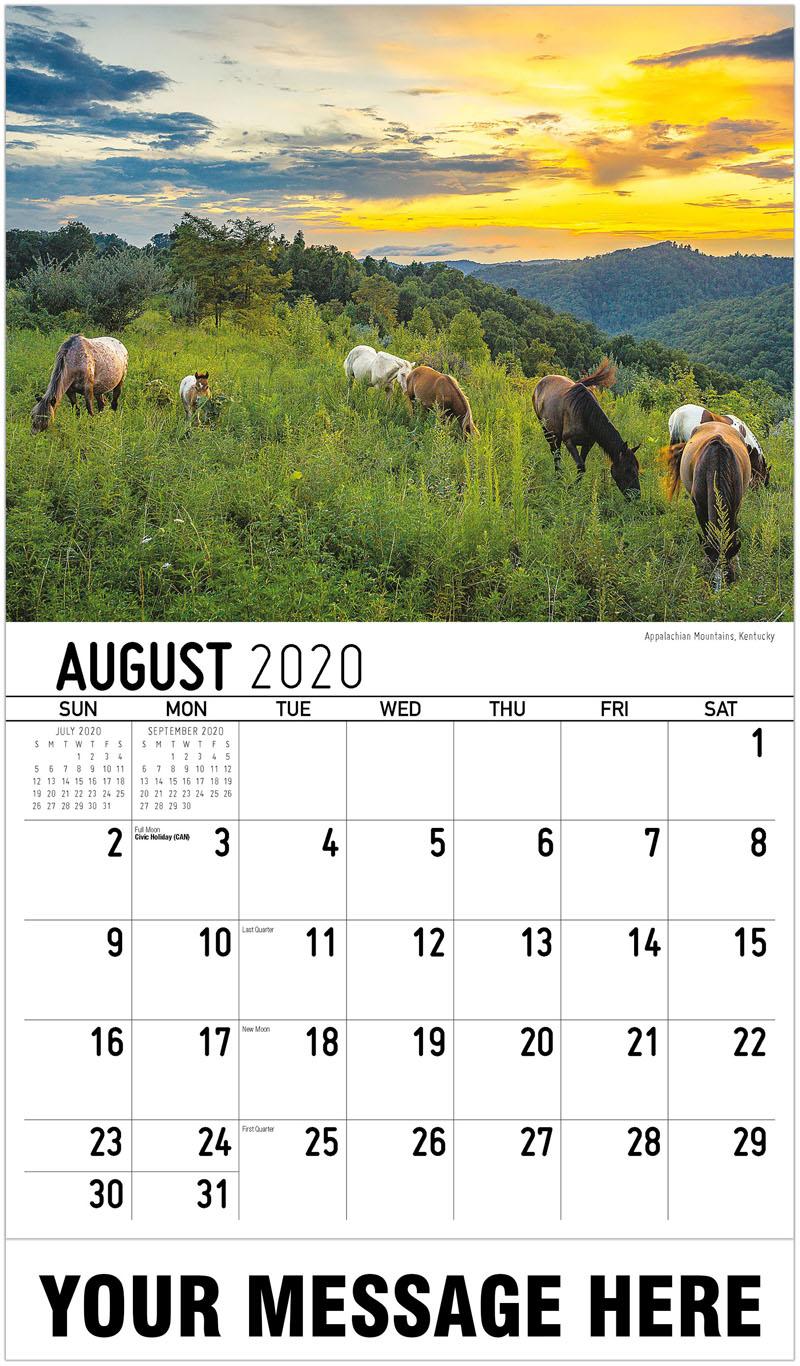 2020 Business Advertising Calendar - Appalachian Mountains, Kentucky - August