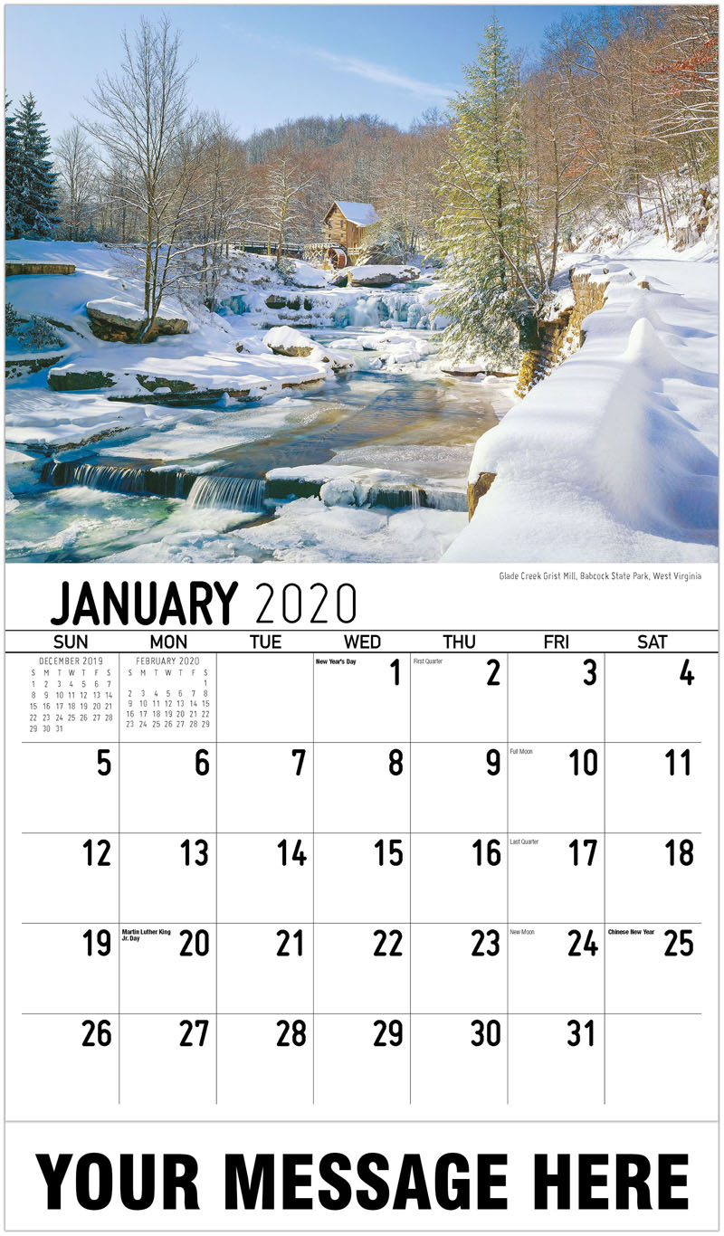 2020 Promotional Calendar - Glade Creek Grist Mill, Babcock State Park, West Virginia - January