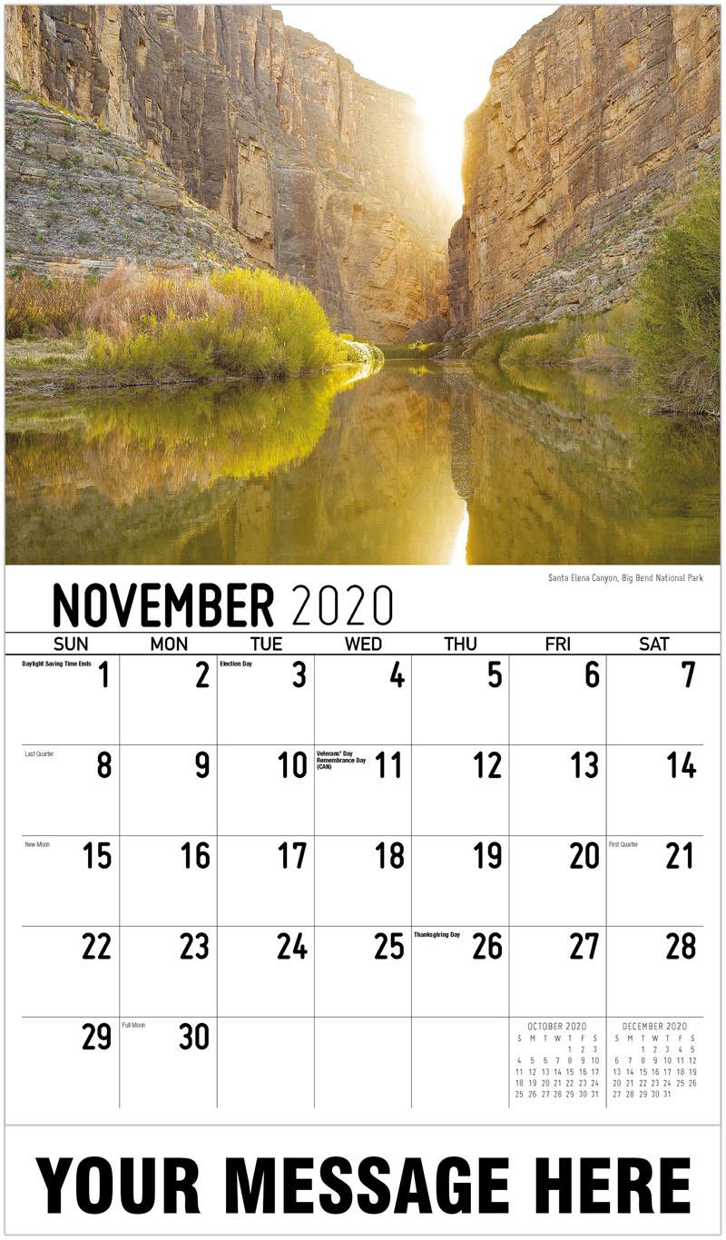 2020 Advertising Calendar - Santa Elena Canyon, Big Bend National Park - November