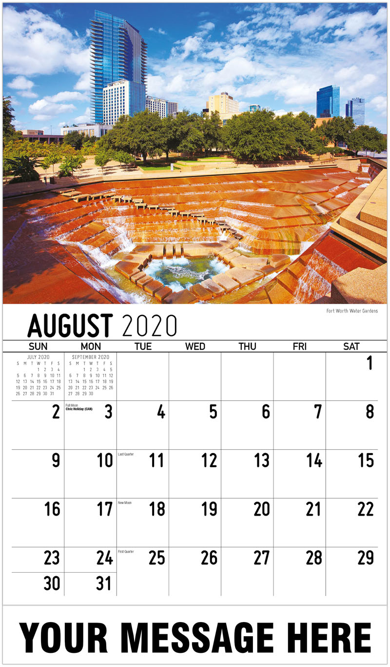 2020 Business Advertising Calendar - Fort Worth Water Gardens - August