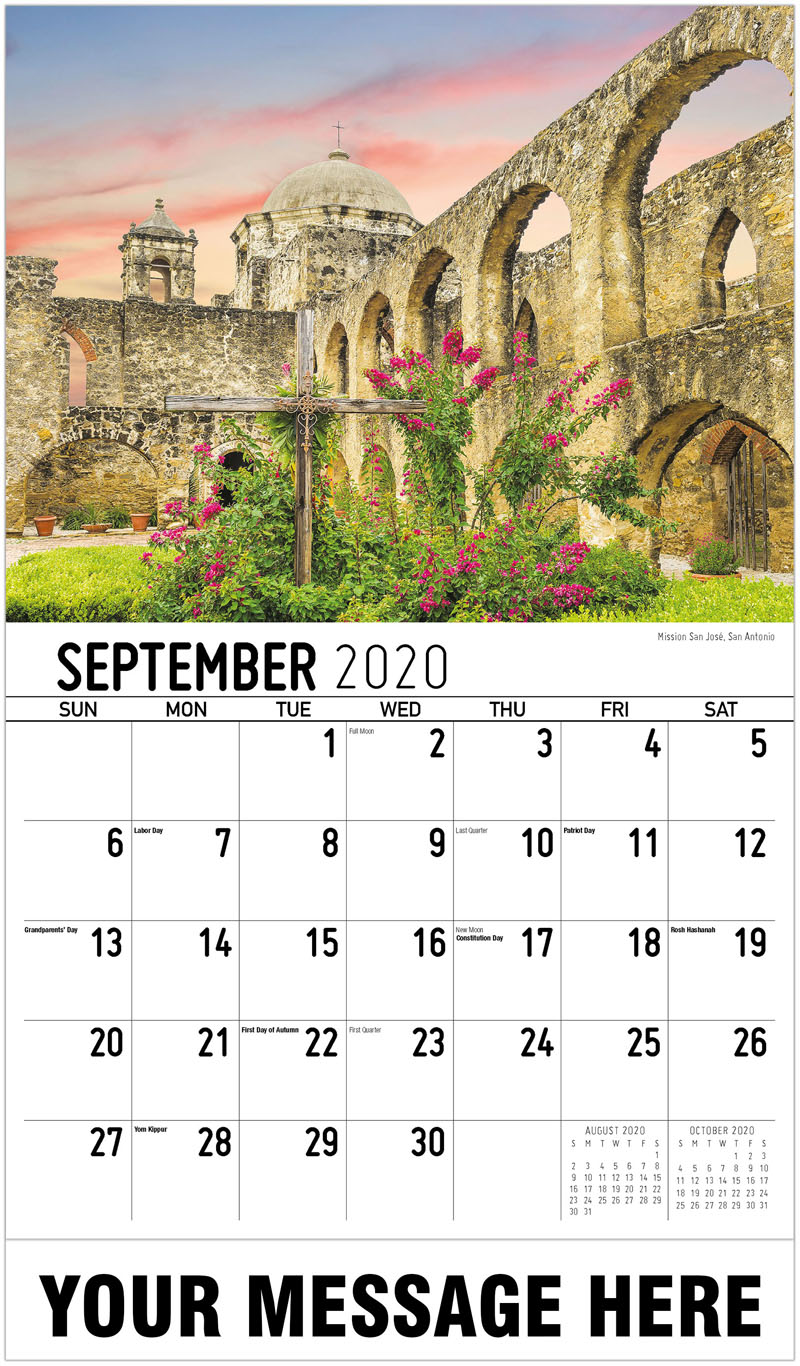 2020 Business Advertising Calendar - Mission San José, San Antonio - September