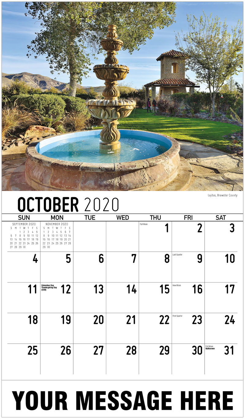 2020 Business Advertising Calendar - Lajitas, Brewster County - October