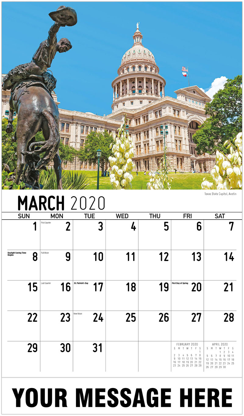 2020 Promo Calendar - Texas State Capitol, Austin - March