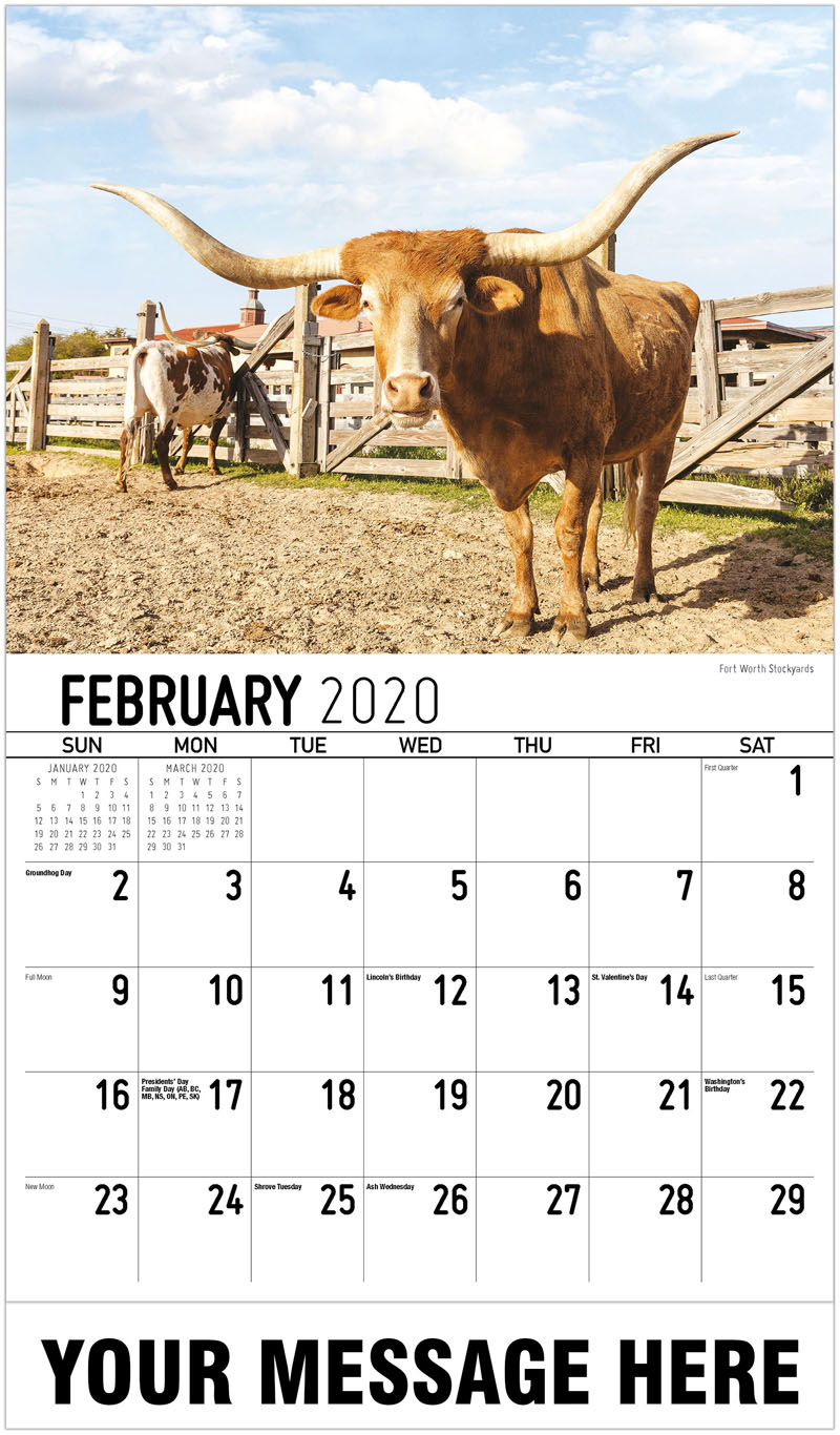 2020 Promotional Calendar - Fort Worth Stockyards - February