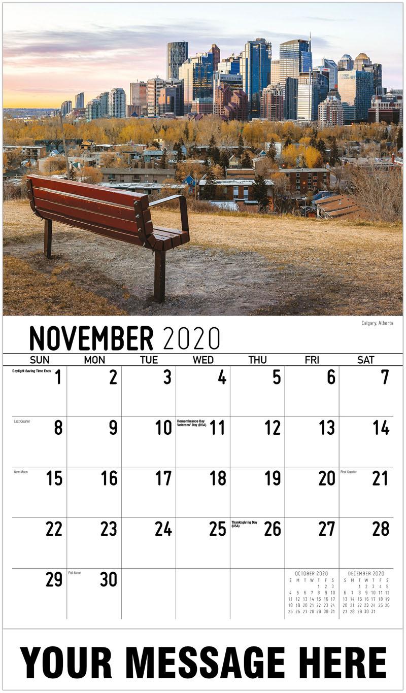 2020 Advertising Calendar - Calgary, Alberta - November