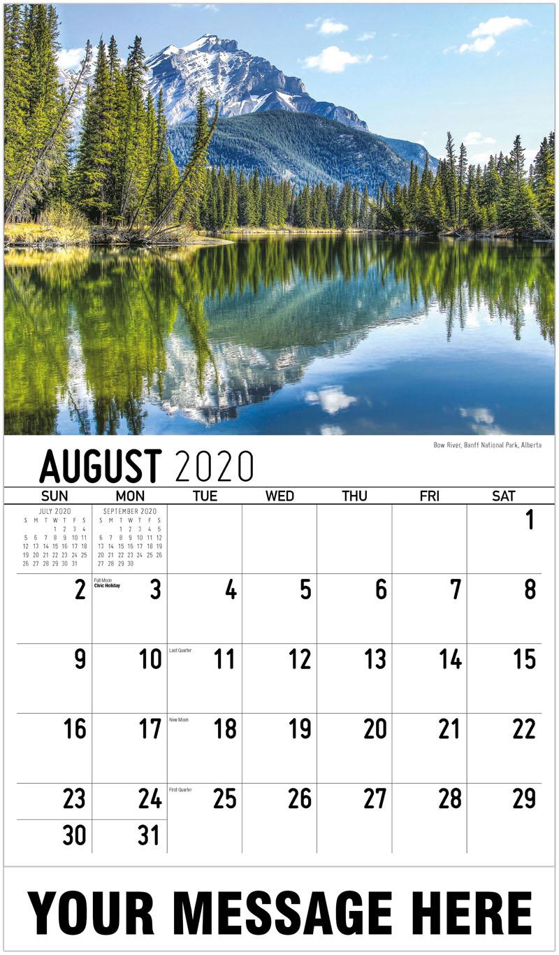 2020 Business Advertising Calendar - Bow River, Banff National Park, Alberta - August