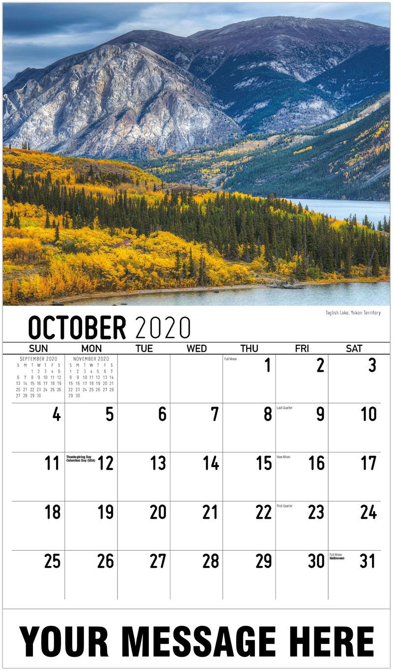 2020 Business Advertising Calendar - Taglish Lake, Yukon Territory - October