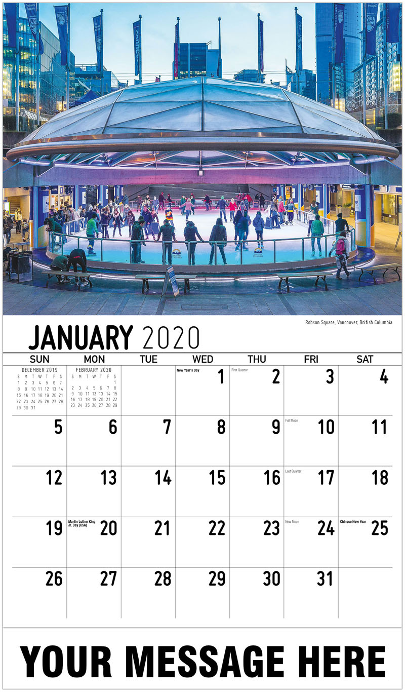 2020 Promo Calendar - Robson Square, Vancouver, British Columbia - January
