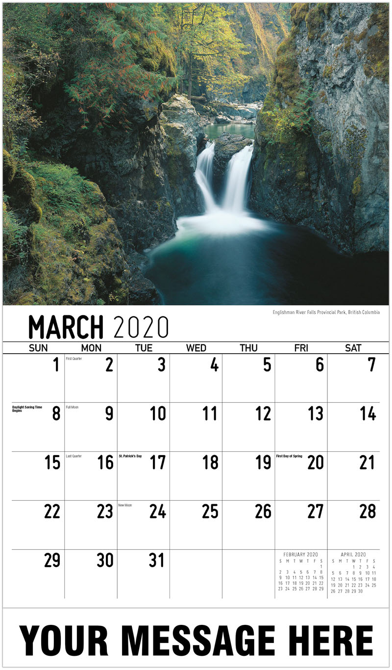 2020 Promotional Calendar - Englishman River Falls Provincial Park, British Columbia - March