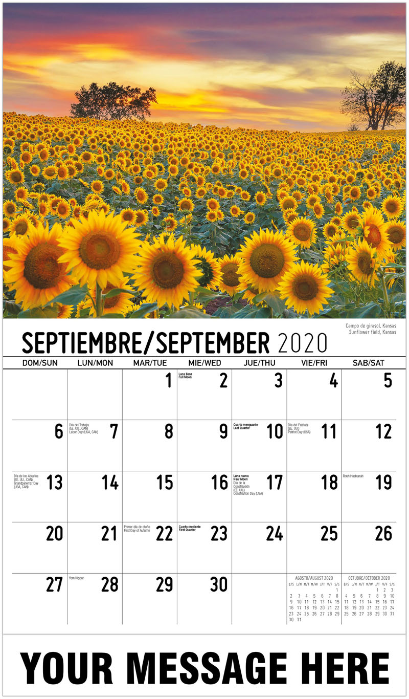 2020  Spanish-English Advertising Calendar - Miami, Florida - September