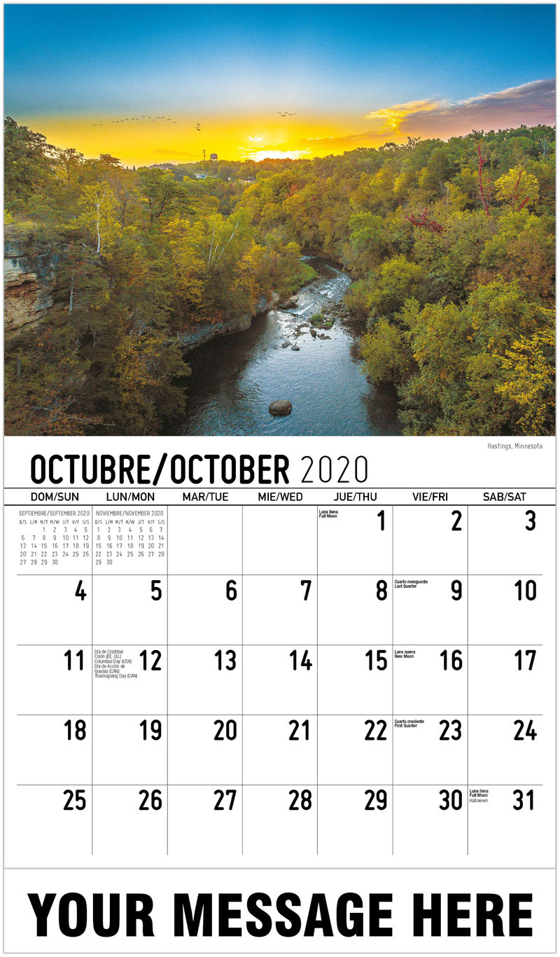 2020  Spanish-English Advertising Calendar - Hastings, Minnesota - October