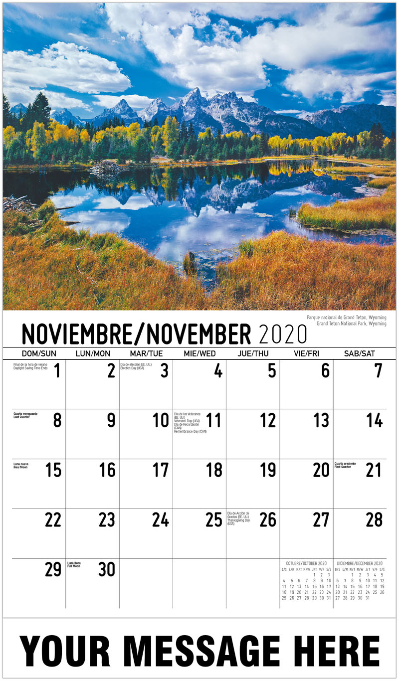 2020  Spanish-English Advertising Calendar - Parque Nacional De Grand Teton, Wyoming Grand Teton National Park, Wyoming - November