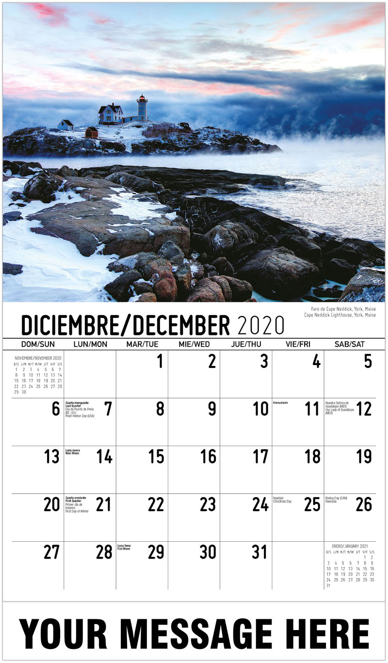 2020  Spanish-English Advertising Calendar - Faro De Cape Neddick, York, Maine Cape Neddick Lighthouse, York, Maine - December_2020