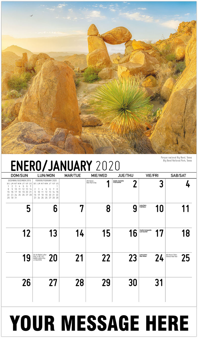 2020  Spanish-English Promo Calendar - Parque Nacional Big Bend, Texas Big Bend National Park, Texas - January