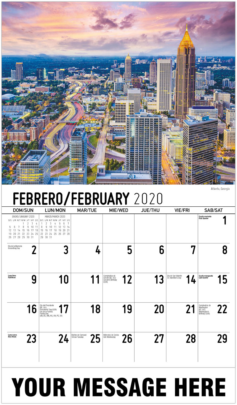 2020  Spanish-English Promo Calendar - Atlanta, Georgia - February