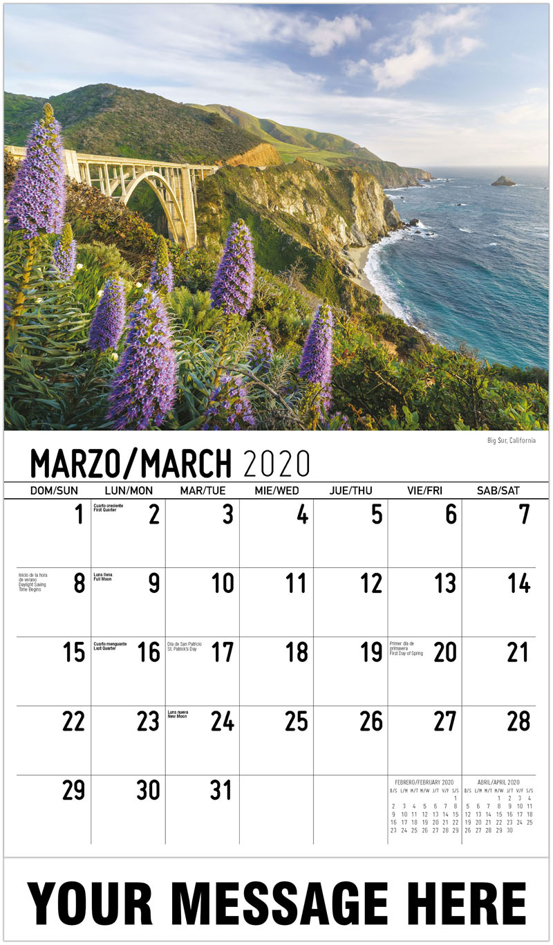 2020  Spanish-English Promotional Calendar - Big Sur, California - March