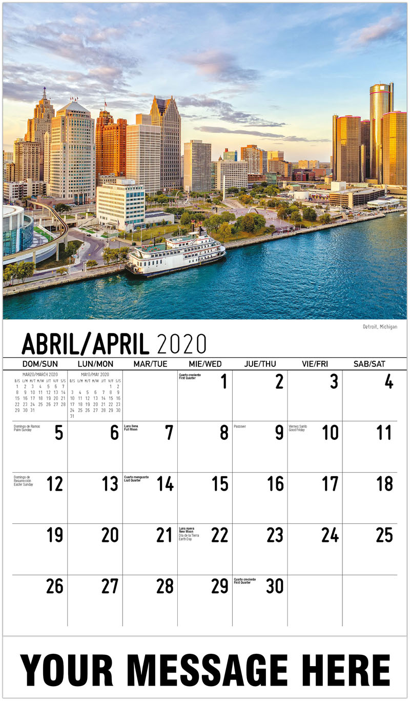 2020  Spanish-English Promotional Calendar - Detroit, Michigan - April