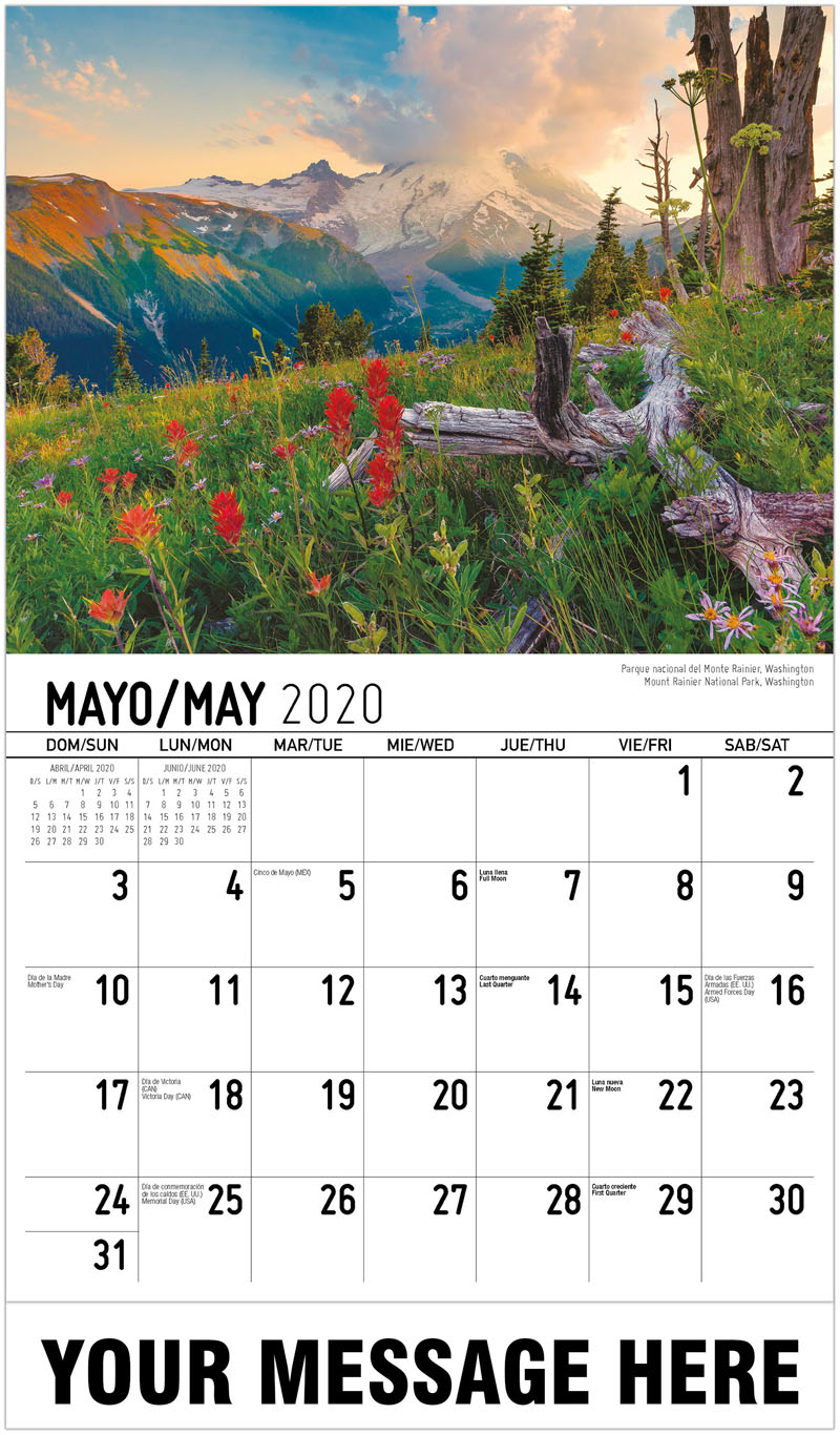 2020  Spanish-English Promotional Calendar - Parque Nacional Del Monte Rainier, Washington Mount Rainier National Park, Washington - May