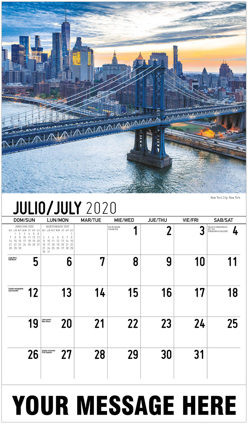 2020  Spanish-English Promotional Calendar - New York City, New York - July