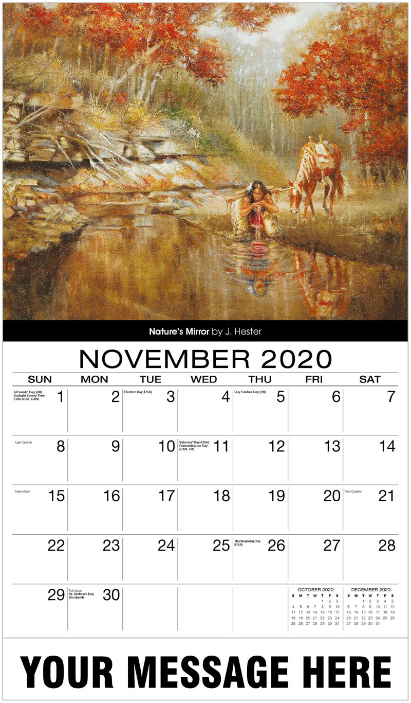 2020 Advertising Calendar - Nature'S Mirror By J. Hester - November