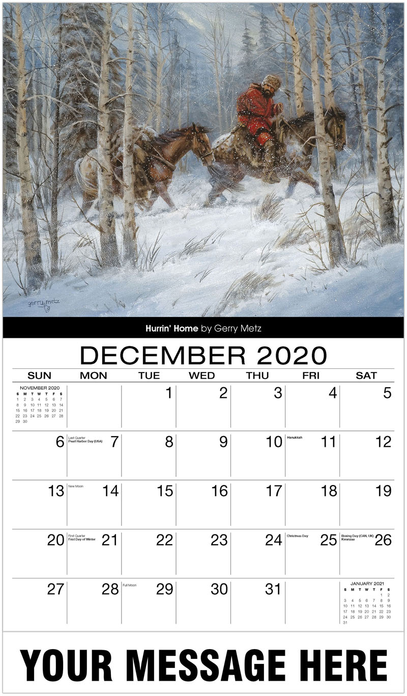2020 Advertising Calendar - Hurrin' Home By Gerry Metz - December_2020