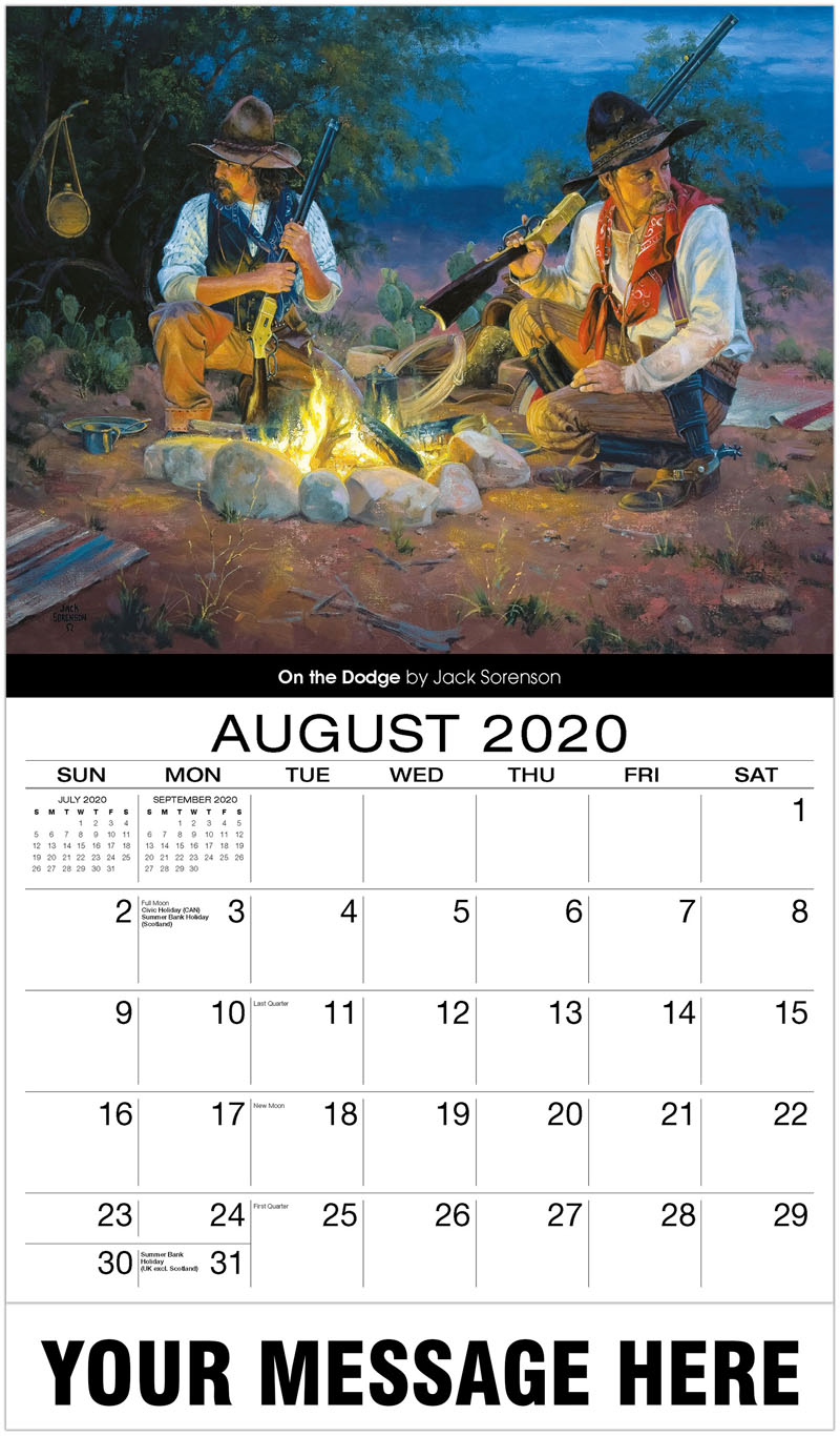 2020 Business Advertising Calendar - On The Dodge By Jack Sorenson - August