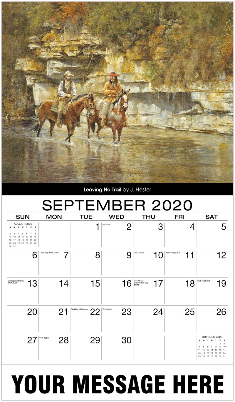 2020 Business Advertising Calendar - Leaving No Trail By J. Hester - September