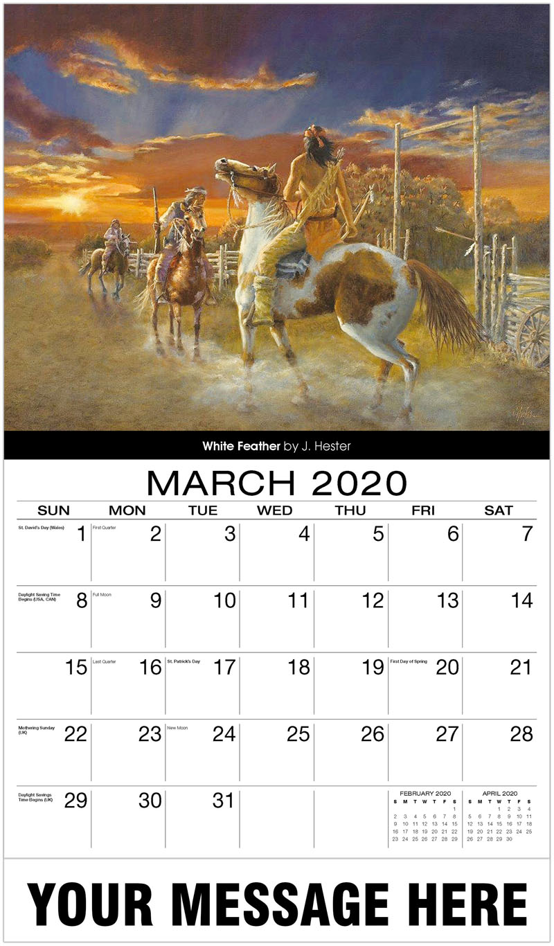 2020 Promo Calendar - White Feather By J. Hester - March