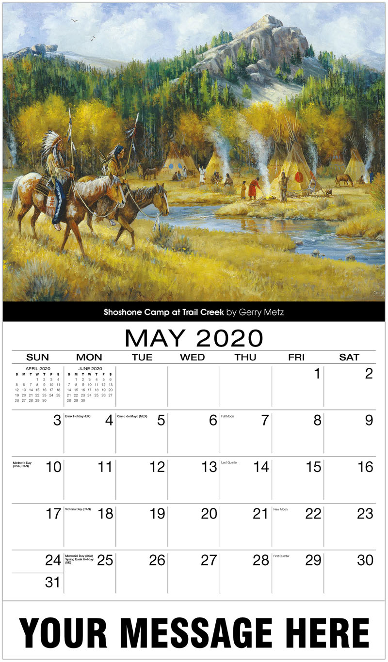 2020 Promo Calendar - Shoshone Camp At Trail Creek By Gerry Metz - May