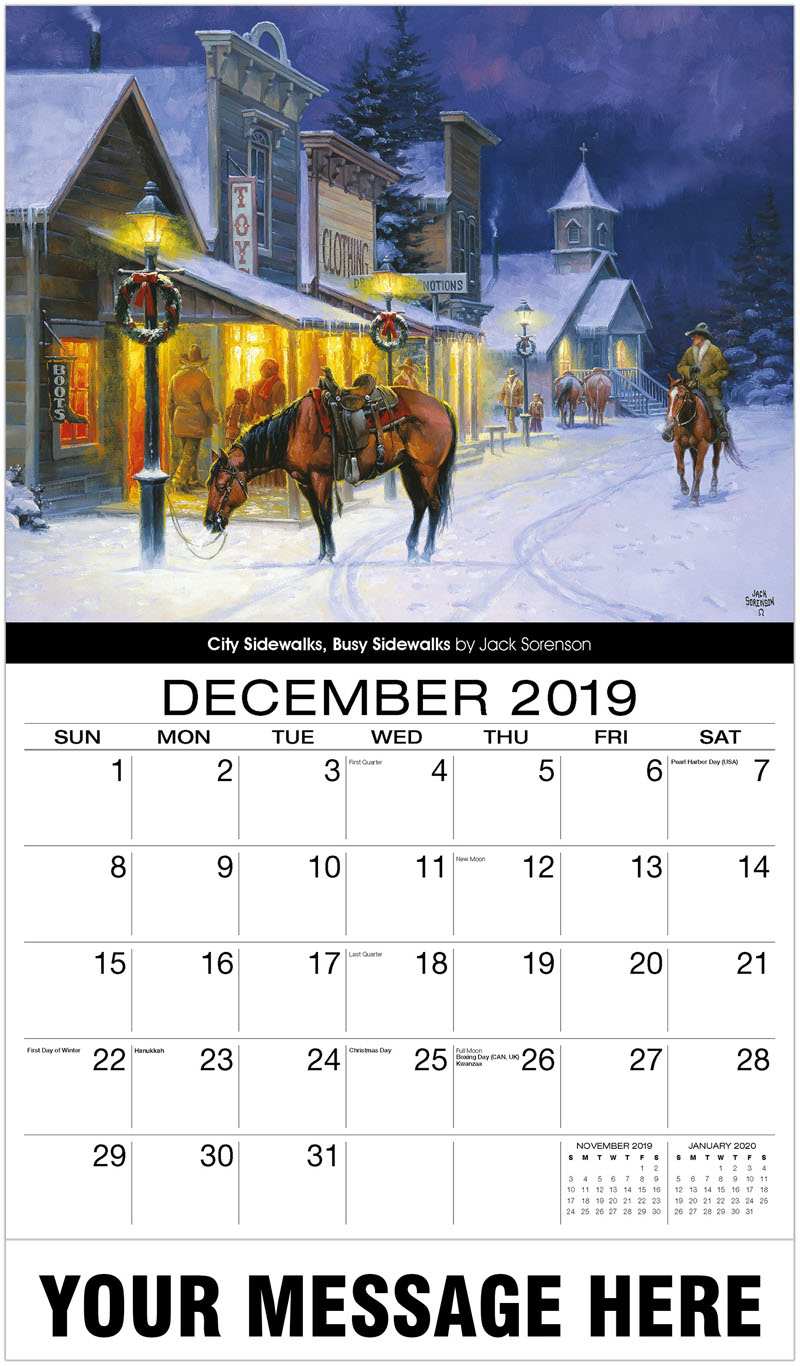 2020 Promotional Calendar - City Sidewalks, Busy Sidewalks By Jack Sorenson - December_2019