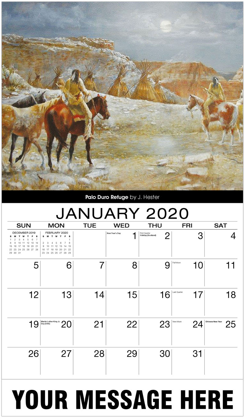 2020 Promotional Calendar - Palo Duro Refuge By J. Hester - January