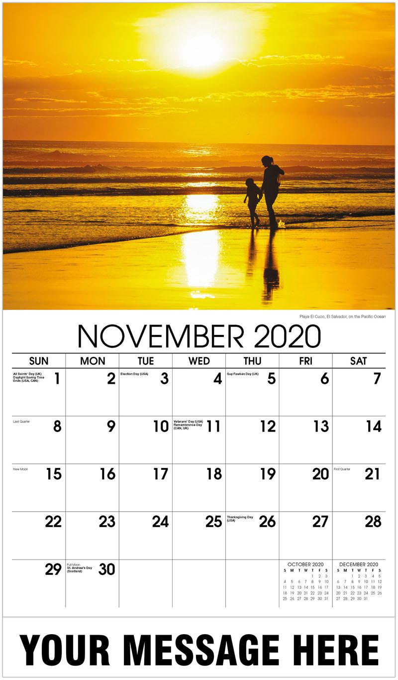 2020 Advertising Calendar - Playa El Cuco, El Salvador, On The Pacific Ocean - November