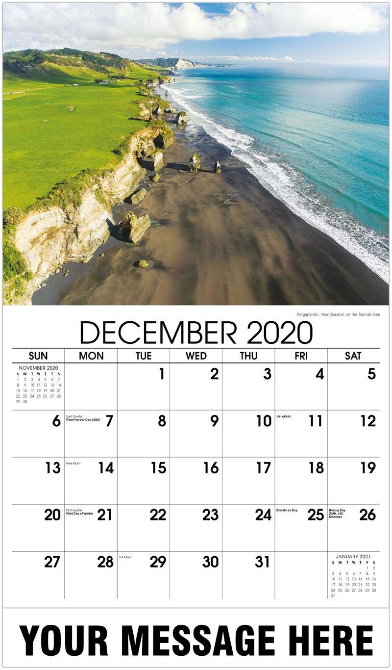 2020 Advertising Calendar - Tongaporutu, New Zealand, On The Tasman Sea - December_2020