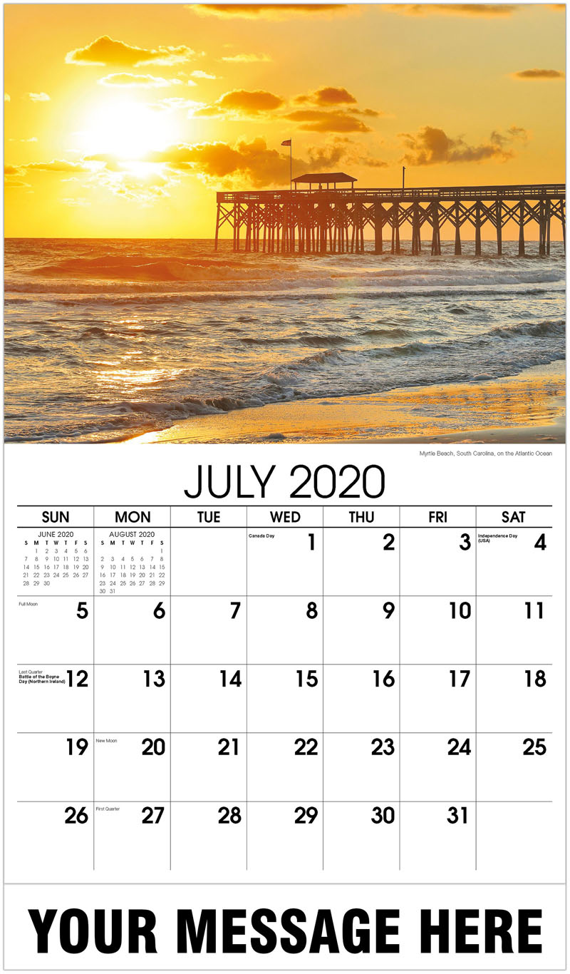 2020 Business Advertising Calendar - Myrtle Beach, South Carolina, On The Atlantic Ocean - July