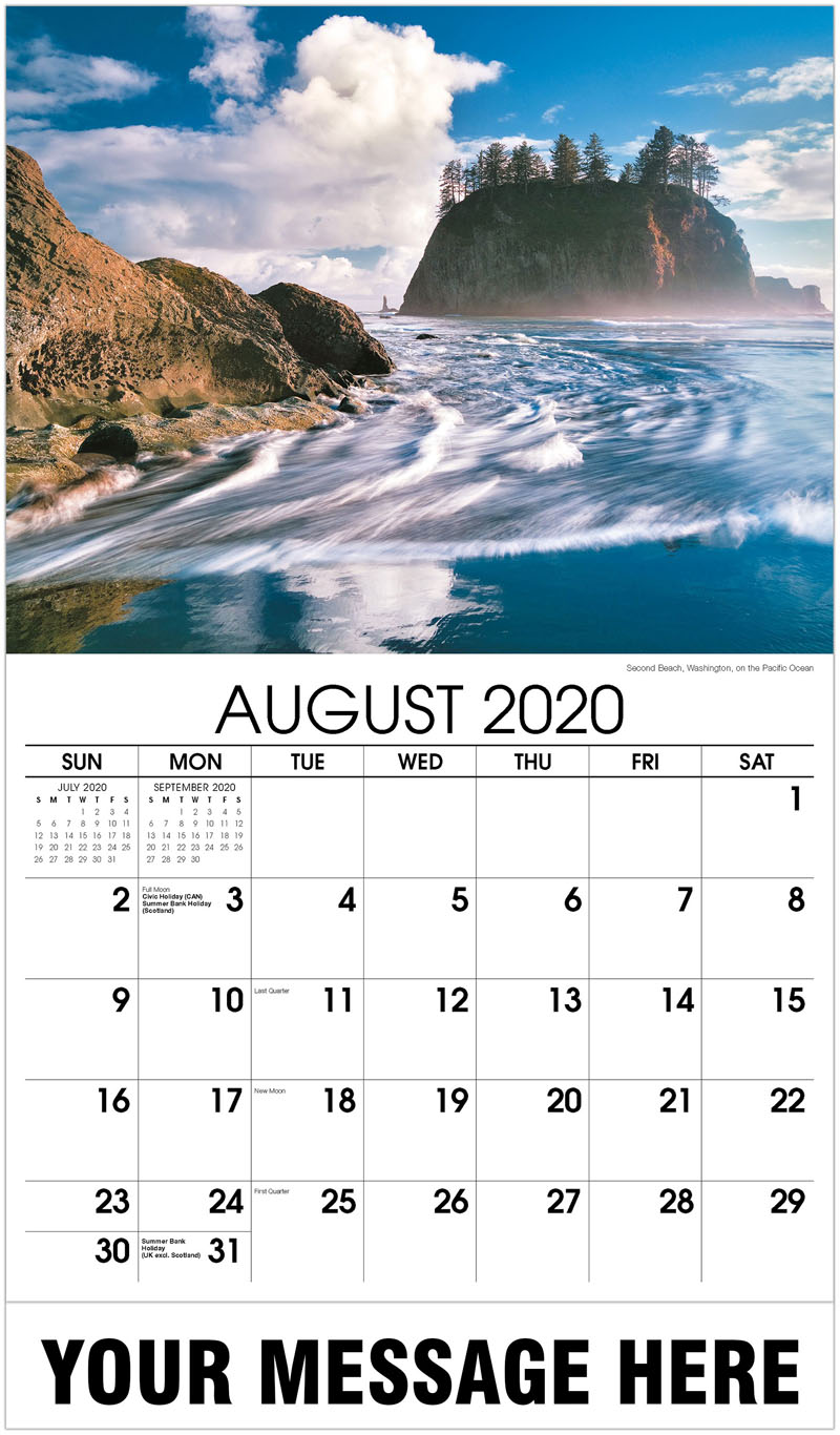 2020 Business Advertising Calendar - Second Beach, Washington, On The Pacific Ocean - August