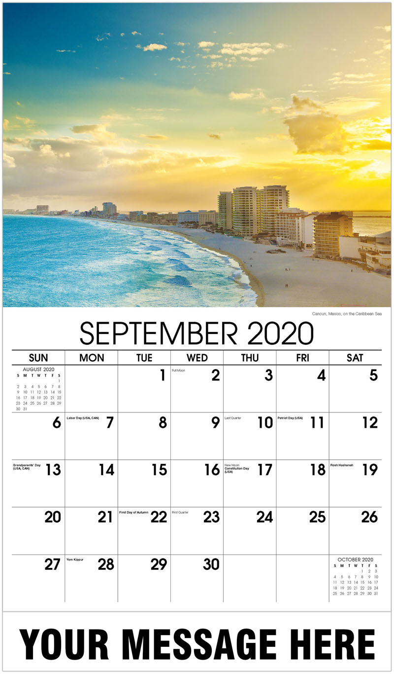2020 Business Advertising Calendar - Cancun, Mexico, On The Caribbean Sea - September