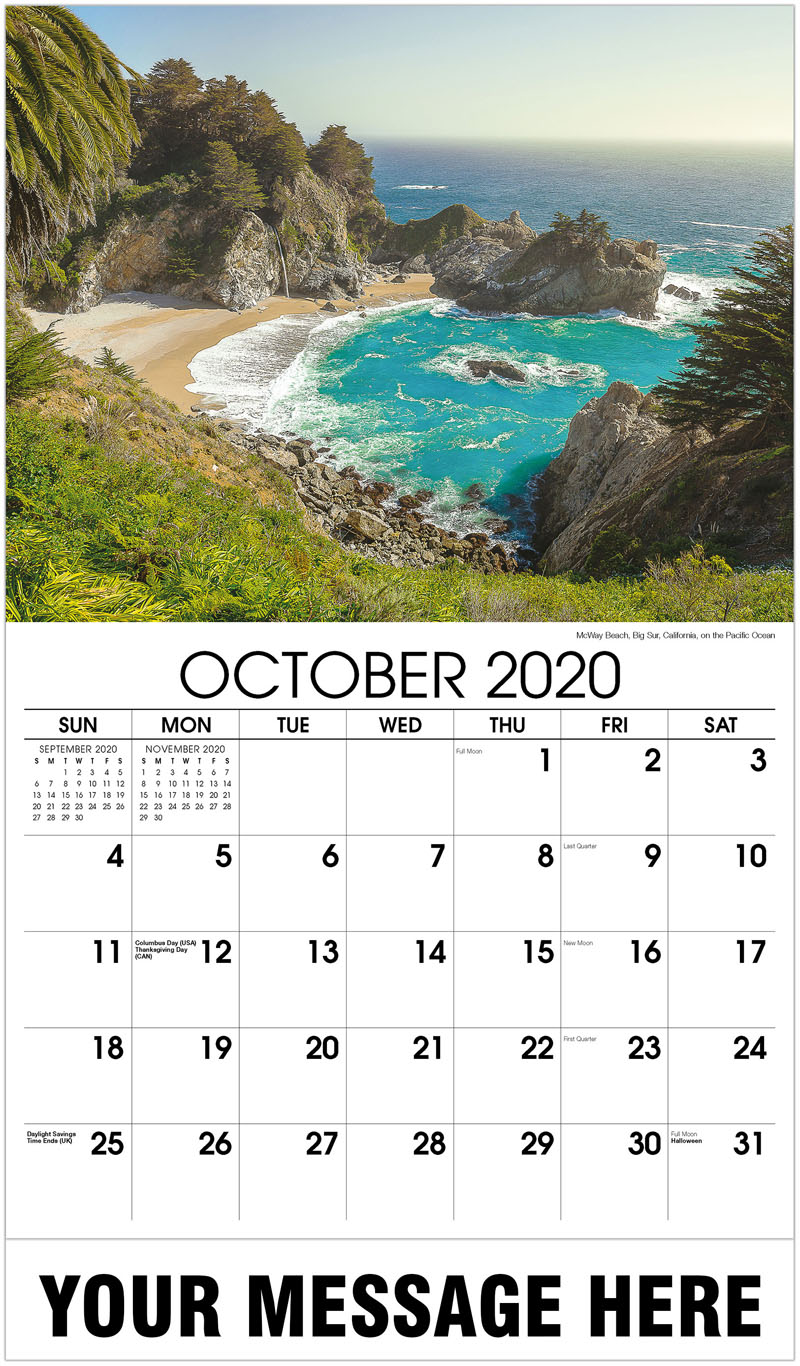2020 Business Advertising Calendar - McWay Beach, Big Sur, California, On The Pacific Ocean - October