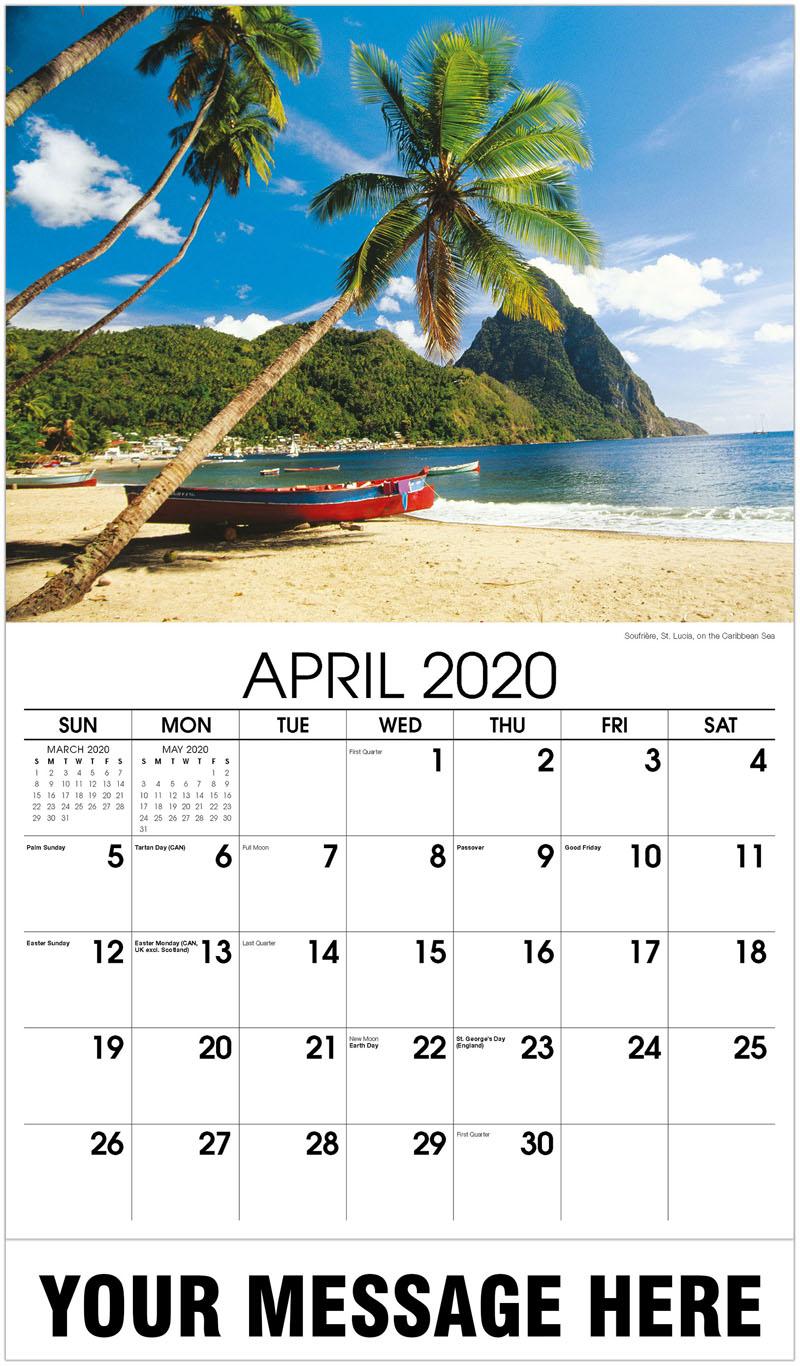 2020 Promo Calendar - Soufrière, St. Lucia, On The Caribbean Sea - April