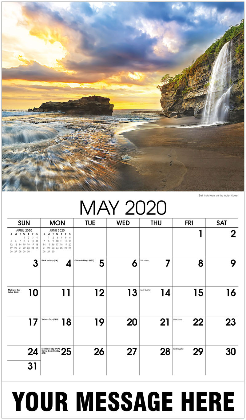 2020 Promo Calendar - Bali, Indonesia, On The Indian Ocean - May