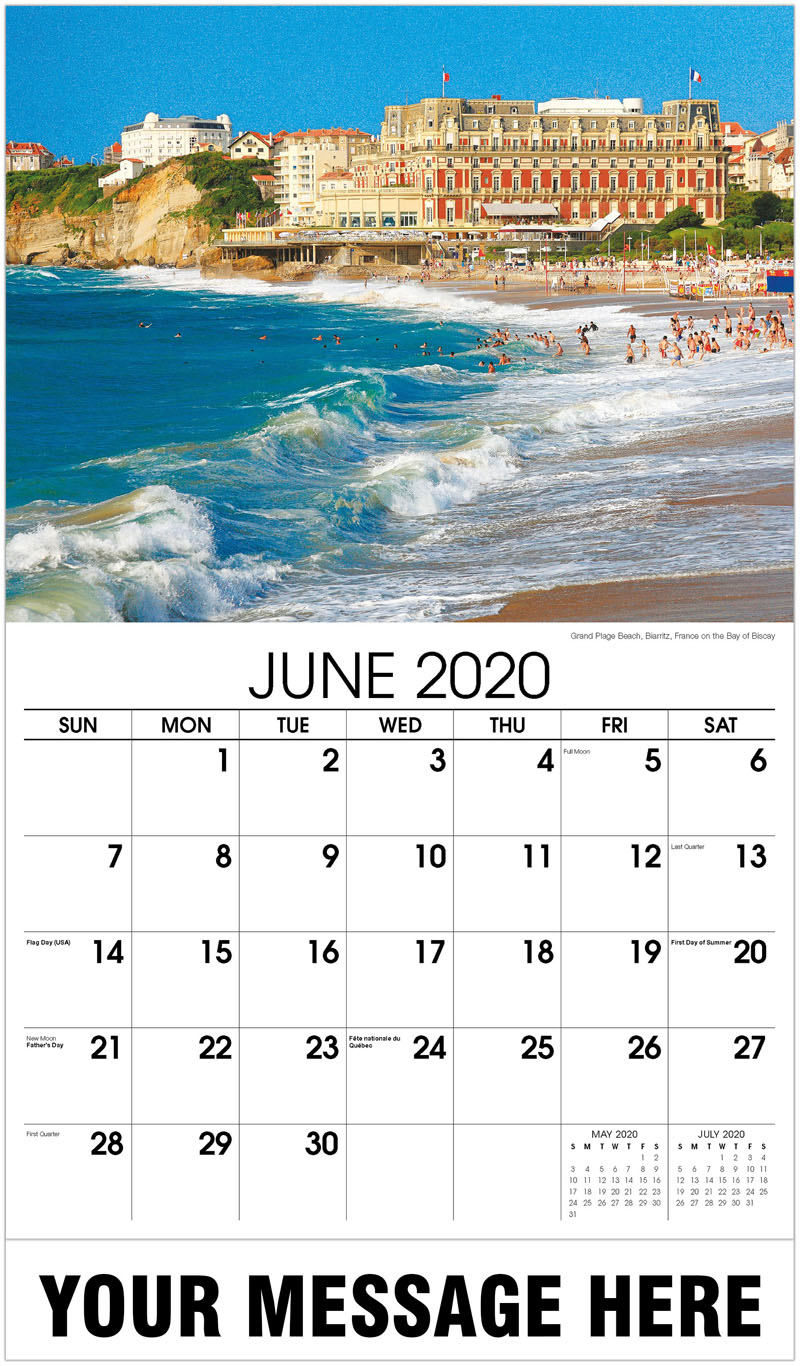 2020 Promo Calendar - Grand Plage Beach, Biarritz, France On The Bay Of Biscay - June