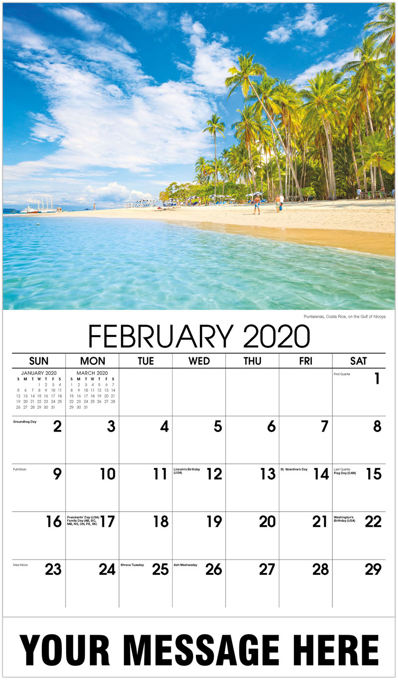 2020 Promotional Calendar - Puntarenas, Costa Rica, On The Gulf Of Nicoya - February