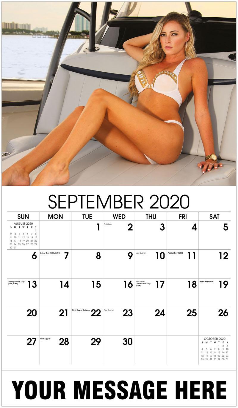 2020 Promo Calendar - White and Gold Bikini - September