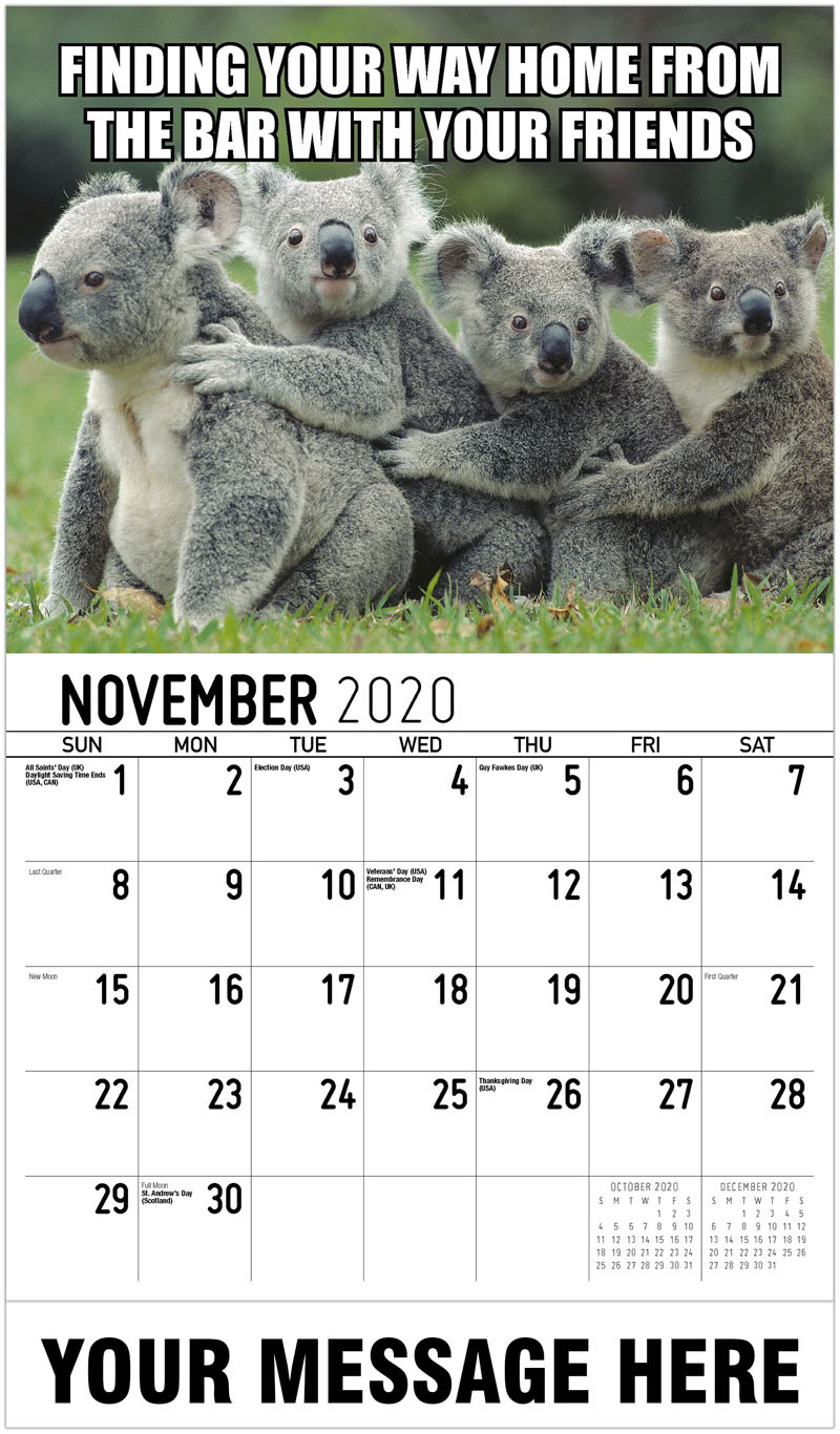 2020 Advertising Calendar - Finding Your Way Home From The Bar With Your Friends - November