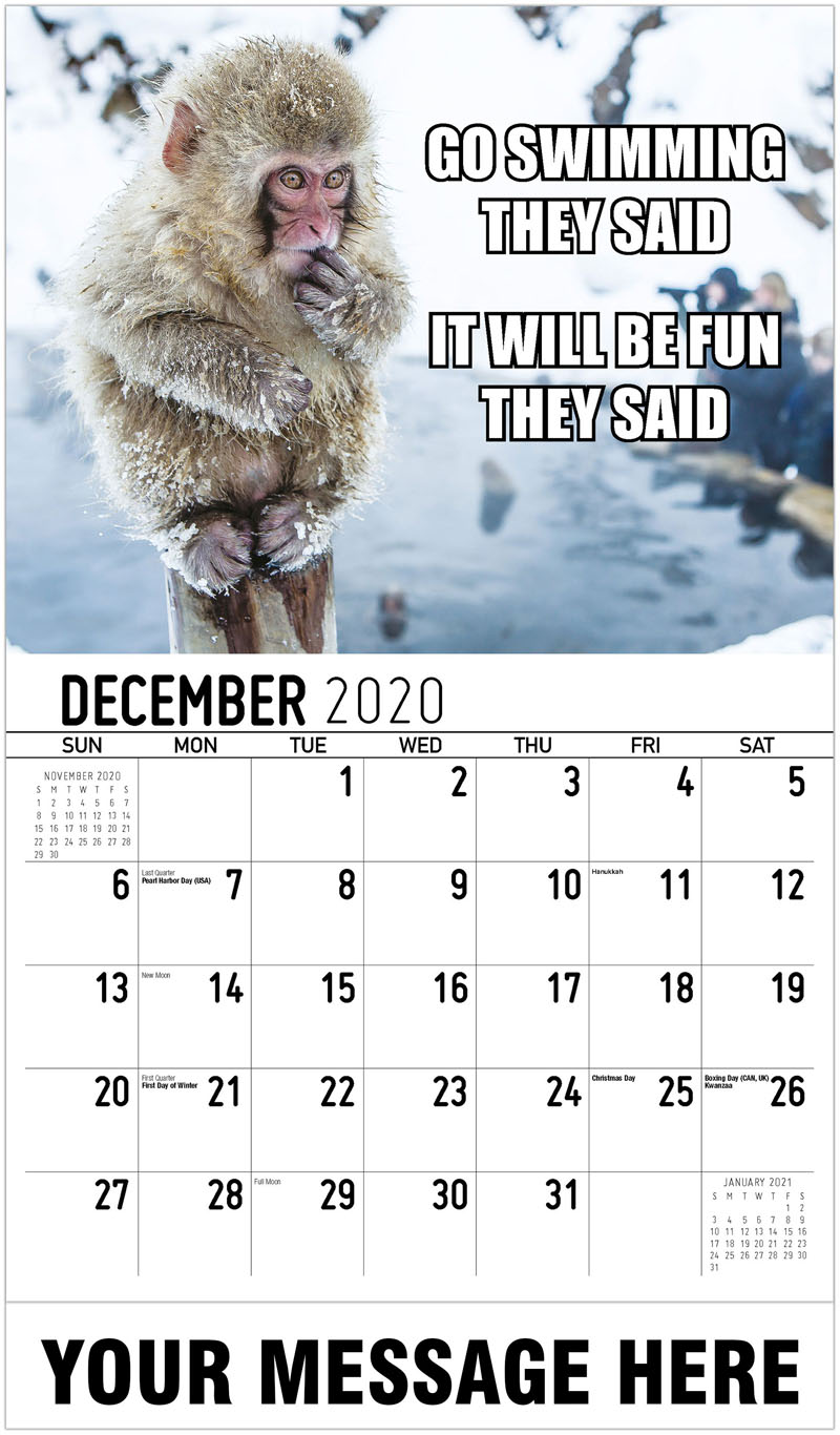 2020 Advertising Calendar - Go Swimming They Said It Will Be Fun They Said - December_2020