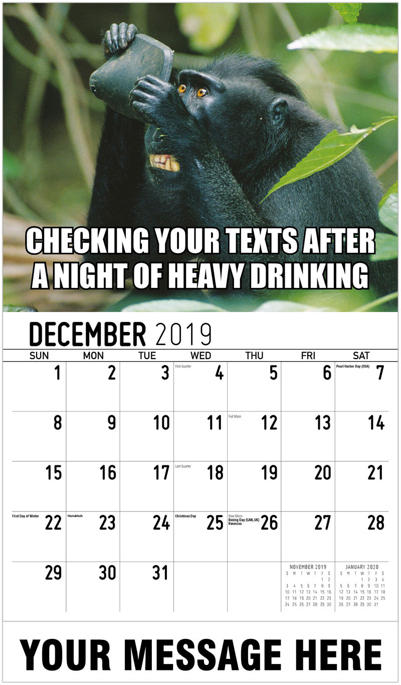 2020 Promo Calendar - Checking Your Texts After A Night Of Heavy Drinking - December_2019
