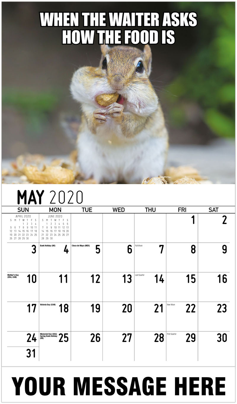 2020 Promotional Calendar - When The Waiter Asks How The Food Is - May