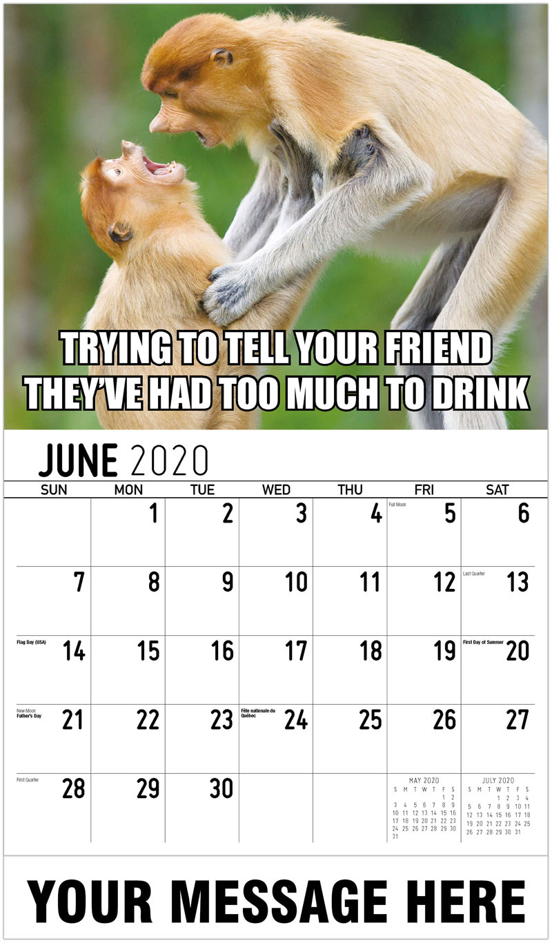 2020 Promotional Calendar - Trying To Tell Your Friend They'Ve Had Too Much To Drink - June