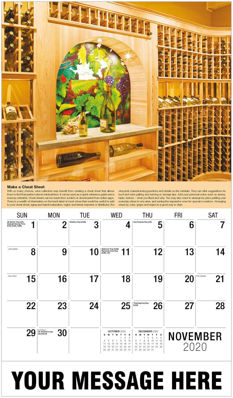 2020 Advertising Calendar - Wine Shelves - November