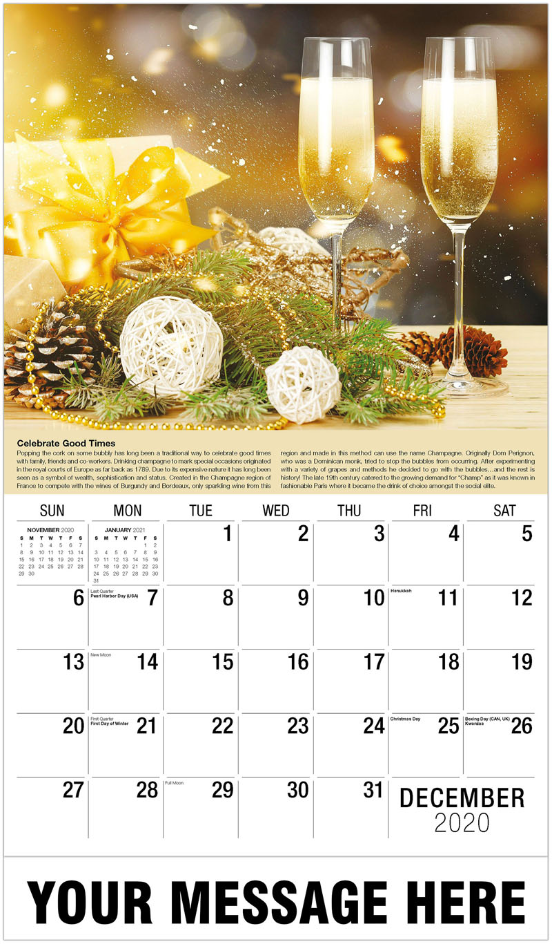2020 Advertising Calendar - Two Glasses Of Champagne - December_2020